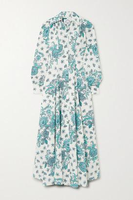 Evi Grintela Jasmine Pleated Floral-print Cotton-poplin Maxi Dress - Green