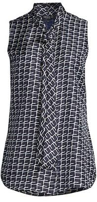 Lafayette 148 New York Joel Geometric Silk Sleeveless Shirt