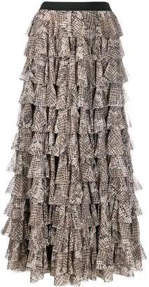 Norma Kamali Maxi Tiered Python Skirt
