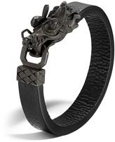 John Hardy Men's Naga Silver Dragon Head Bracelet with Black Finish on Black Leather Strap