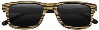 Earth Wood Tide Sunglasses W/Polarized Lenses - Zebrawood/Black