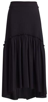 Chiara Boni Laraine Solid Flounce Midi Skirt