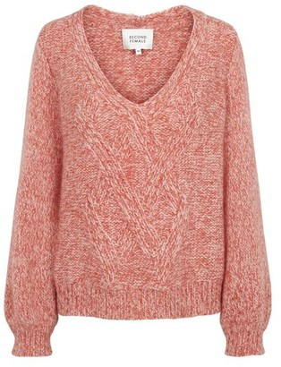 Second Female - West Knit V Neck Jumper In Coral - S