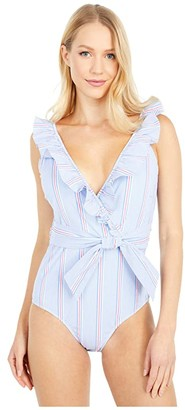 Vineyard Vines Nicholls Stripe One-Piece (Bimini Blue) Women's Swimsuits One Piece