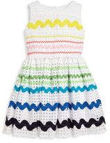 Halabaloo Toddler's & Little Girl's Multi-Stripe Eyelet Dress