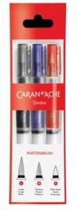 Caran d'Ache Water Brush Set with 3 Different Size Brushes