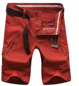 Allonly Men's Durable Cotton Loose Fit Multi Pocket Cargo Shorts Large