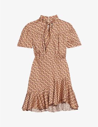 Sandro Chaina graphic-print silk-blend mini dress