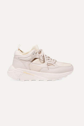 Brandblack Aura Leather, Nubuck And Stretch-knit Sneakers - Pink