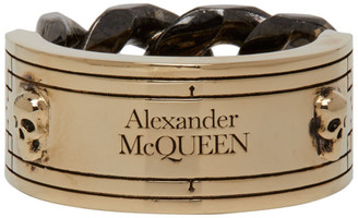 Alexander McQueen Gold and Gunmetal Bi-Color Identity Chain Ring