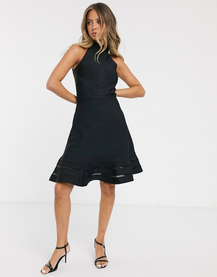 Lipsy halter fit and flare bandage dress in black