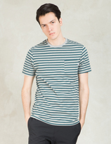 Poler Green/white Stripe T-Shirt
