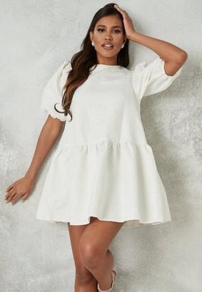 Missguided White Brocade Puff Sleeve Extreme Oversized Smock Dress