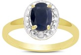 1.00 Carat TW Oval-cut Sapphire and Diamond Accent Ring Gold Plated (IJ-I2-I3) (September)