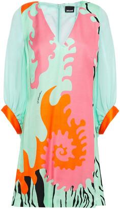 Just Cavalli Georgette-paneled Printed Satin Mini Dress