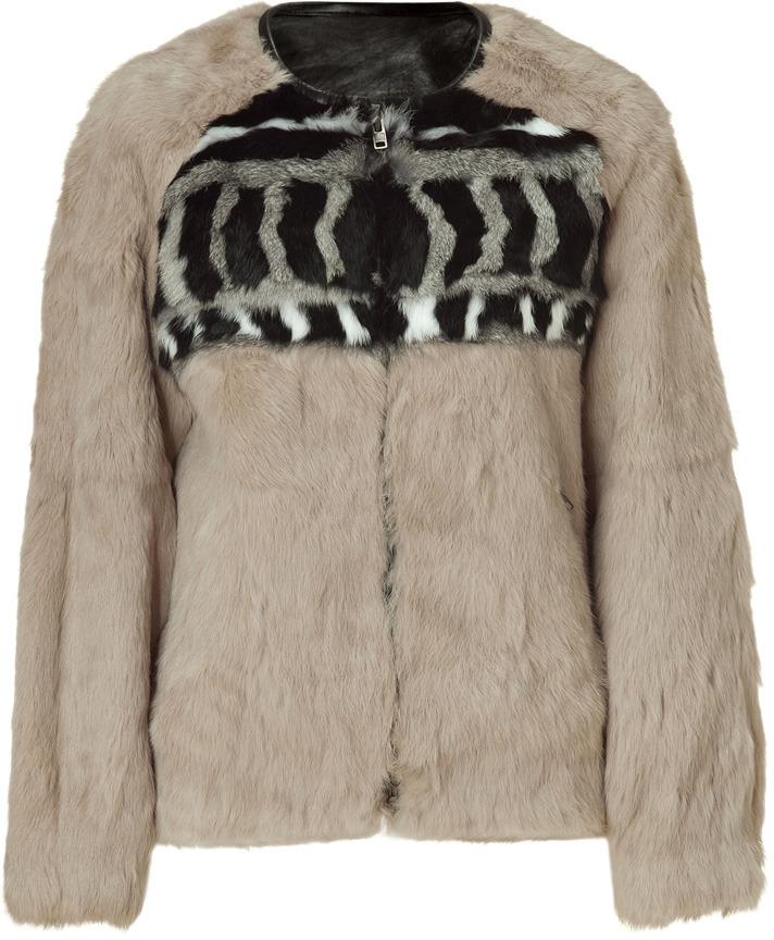 IRO Beige Multicolor Lorna Fur Jacket