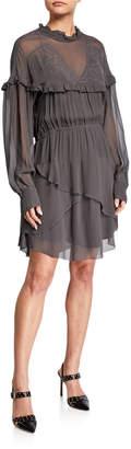 IRO Paradiz Embroidered Ruffle Dress