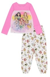 AME Disney Princess Little and Big Girls 2-Piece Pajama Set