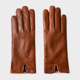 Paul Smith Women's Brown Lambskin 'Artist Stripe' Trim Gloves