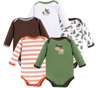 Luvable Friends Baby Boy Long Sleeve Bodysuits, 5-Pack