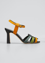 Manolo Blahnik Congola Colorblock Leather Sandals