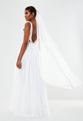 Missguided White Embellished Wedding Veil