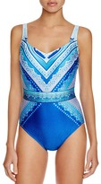 Gottex Blue Jasmine Geometric Neck One Piece Swimsuit
