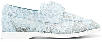 Le Silla Floral Lace Loafers