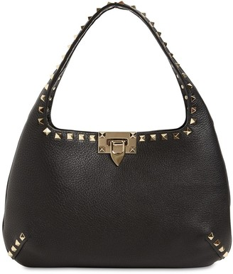 Valentino Small Rockstuds Leather Hobo Bag