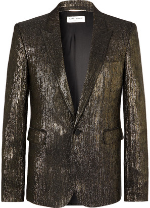 Saint Laurent Slim-Fit Metallic Woven Blazer