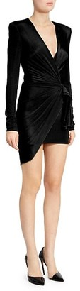 Alexandre Vauthier Ribbed Jersey Mini Wrap Dress
