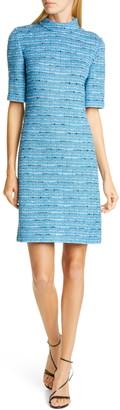 St. John Artisanal Space Dye Stripe Knit Dress