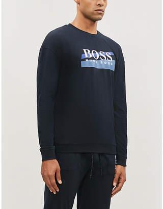 BOSS Logo-print cotton-jersey top