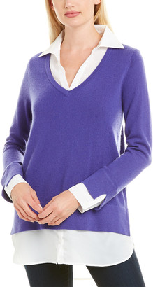 Tyler Boe Shirted Cashmere Top