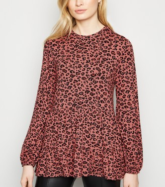 New Look Leopard Print Long Sleeve Peplum Top