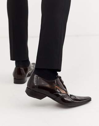Jeffery West Pino contrast lightning shoe in brown high shine leather