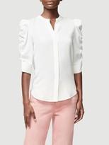 Frame Shirred Sleeve Silk Button Up