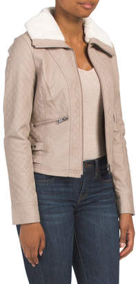 Juniors Quilted Faux Leather Jacket