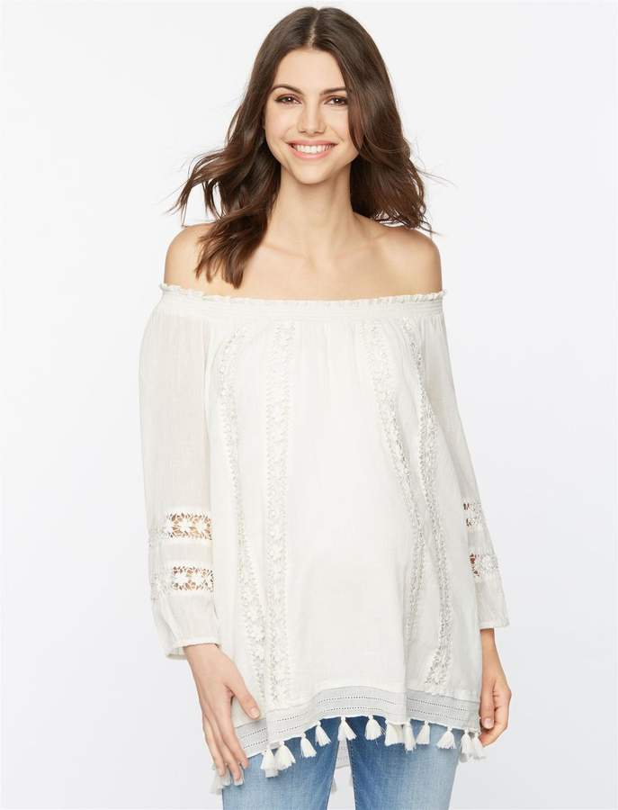 Lace And Tassel Trim Maternity Top
