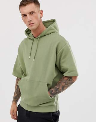 Asos Design DESIGN short sleeve oversized hoodie with side zips in khaki-Green