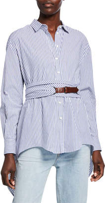 Brunello Cucinelli Button-Down Striped Long Sleeve Poplin Blouse with Wrap Belt