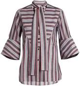 Palmer Harding PALMER/HARDING Striped pussybow-neck cotton shirt