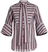 Palmer Harding PALMER/HARDING Striped pussybow-neck cotton shirt