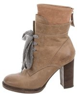 Brunello Cucinelli Leather Lace-Up Ankle Boots