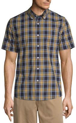 ST. JOHN'S BAY No Tuck Mens Short Sleeve Striped Button-Front Shirt