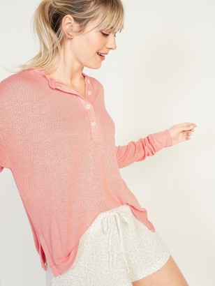 Old Navy Oversized Double-Knit Crepe Henley Lounge Top for Women