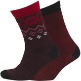 Converse Womens Two Pack Winter Crew Socks Black/Casino Red
