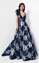 Terani Couture Scoop Back Floral Print A-line Dress 1711M3388