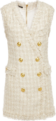 Balmain Button-embellished Boucle-tweed Mini Dress