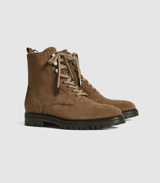 Reiss Arianna - Suede Lace Up Hiker Boots in Taupe